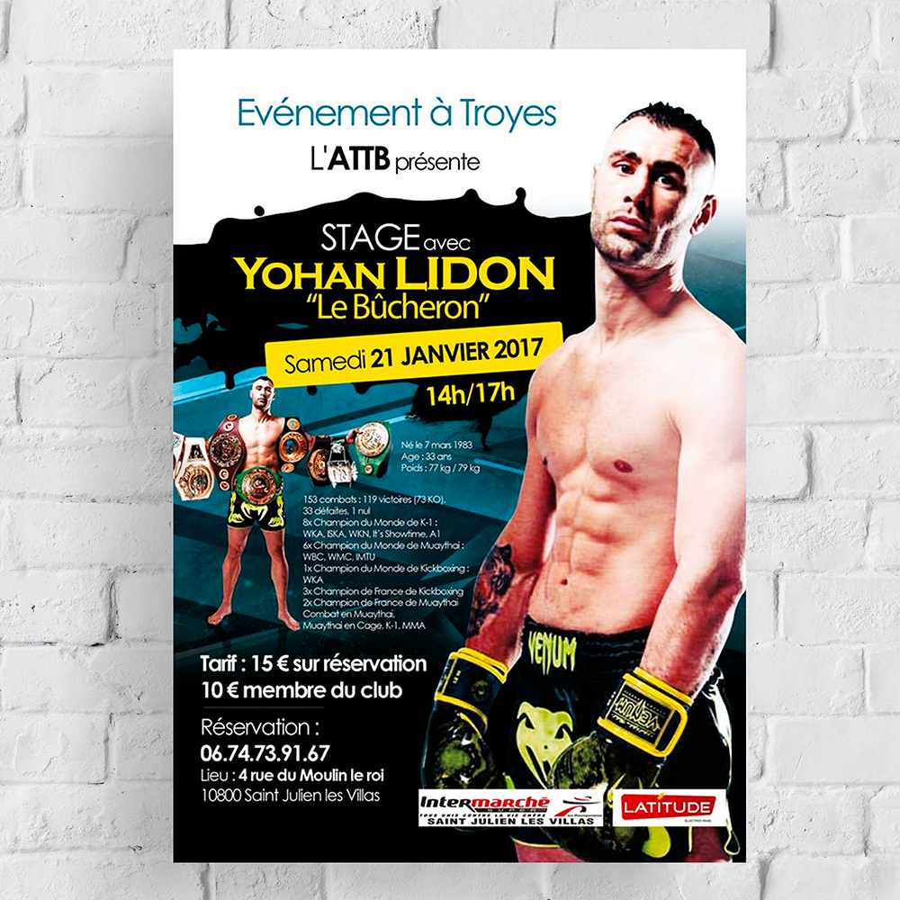 Affiche, print, stage kickboxing K-1, Troyes, Yohan Lidon, Muaythai, à Troyes, Dany Coquet