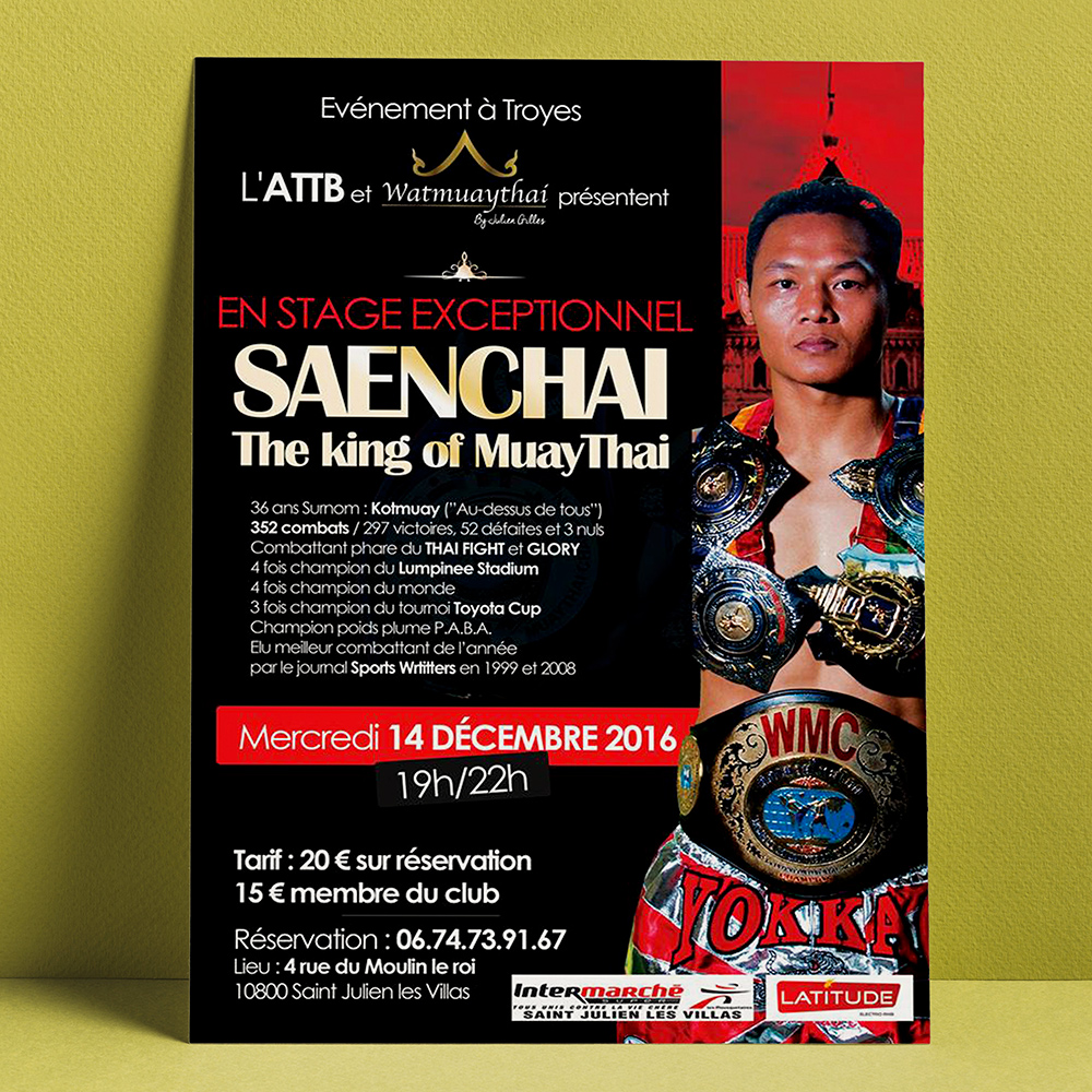 Affiche stage muaythai, Troyes, Saenchai, à Troyes, Dany Coquet