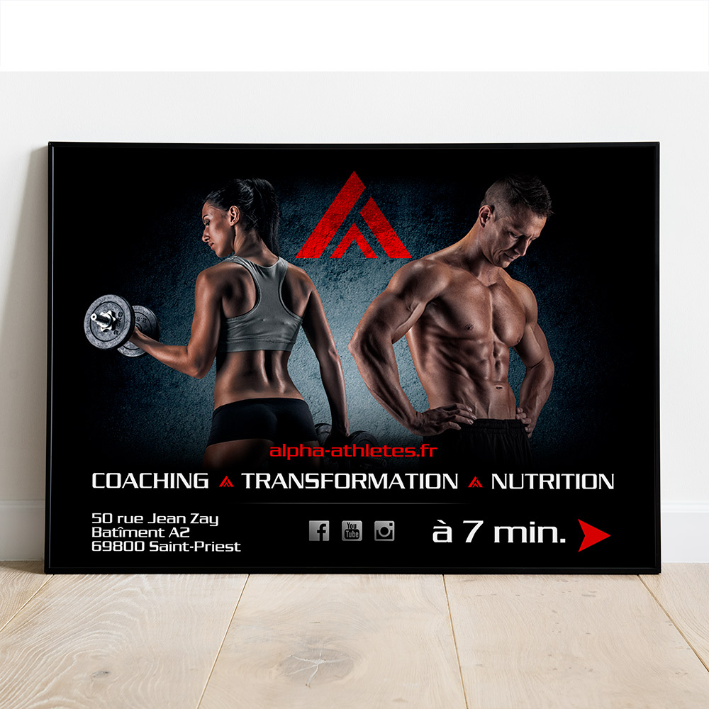 Print, graphisme, Affiche 4x3, Alpha Athlètes, coaching, transformation, nutrition, Irigny, Adrien Meleo